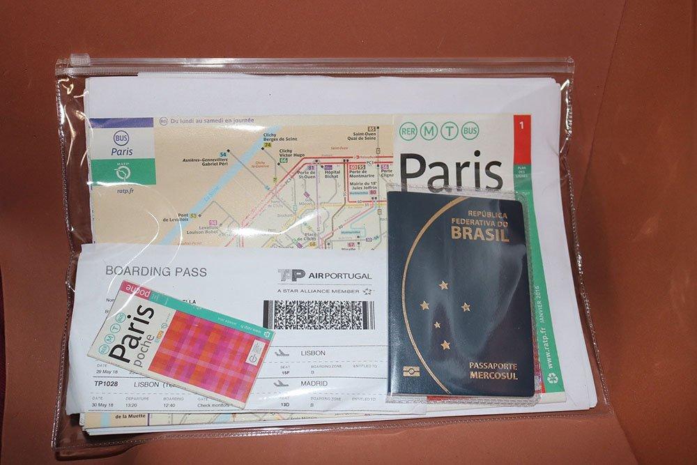 Itens essenciais para uma viagem internacional, pasta para documentos
